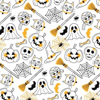 Padrão de halloween engraçado mão desenhada