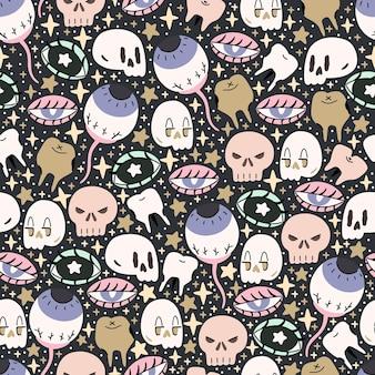 Padrão de halloween ilustrado bonito com sculls, olhos, teath e estrelas. fundo repetido de costura.