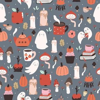 Padrão de halloween ilustrado bonito. fundo repetido de costura. papel de parede, tecido, desenho de papel para scrapbook.