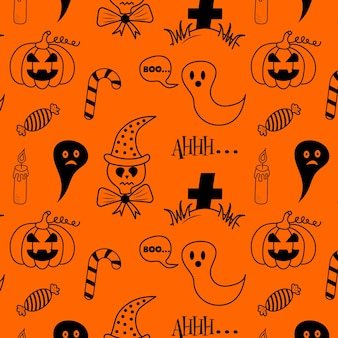 Padrão de halloween sem costura com doces fantasmas de doodle de vela de caveira e túmulo