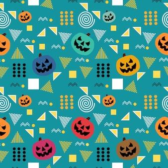 Padrão de halloween sem costura na moda de memphis