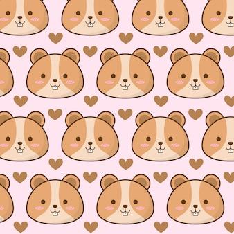 Padrão de hamster fofo com coração