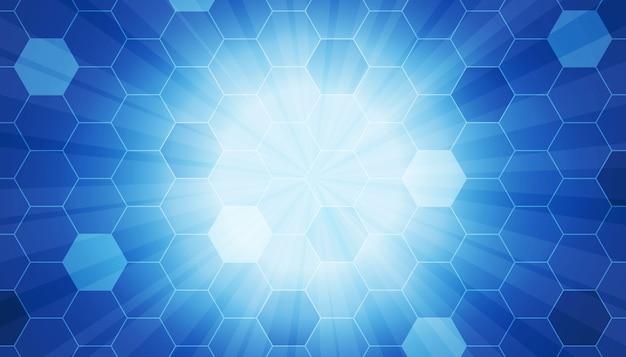 Padrão de hexágono com fundo de feixe de raios