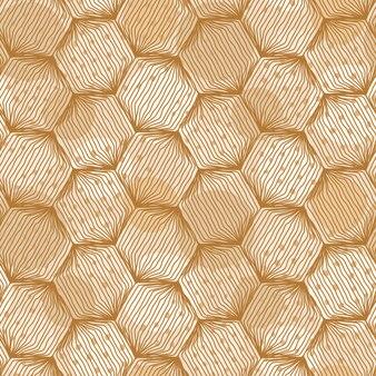 Padrão de hexágono sem costura com mão desenhadas linhas e manchas