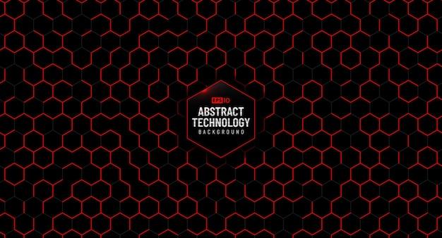 Padrão de hexágono vermelho de tecnologia abstrata em fundo preto.