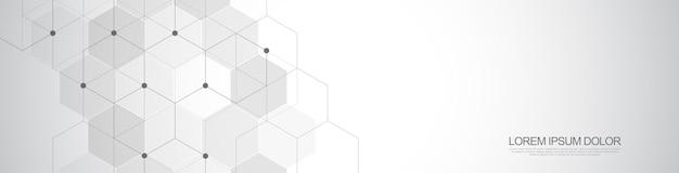 Padrão de hexágonos de vetor. fundo abstrato geométrico com elementos hexagonais simples. projeto médico, tecnológico ou científico.