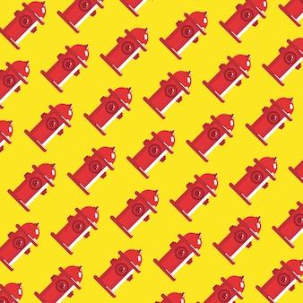 Padrão de hidrante de água vermelha no design de arte plana