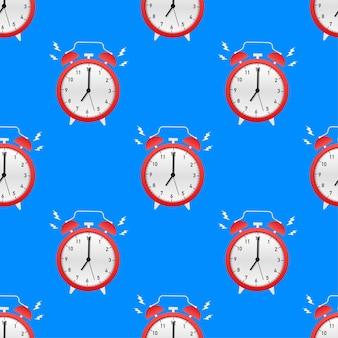 Padrão de hora de despertar vermelho do despertador. ilustração vetorial.