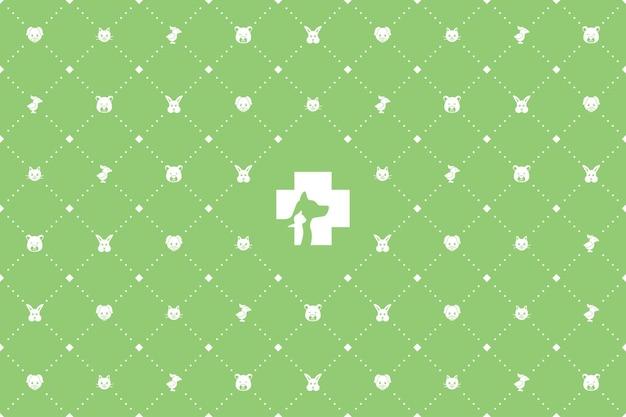 Padrão de ícone sem costura veterinário de animal de estimação branco sobre fundo verde
