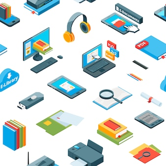 Padrão de ícones de educação on-line isométrica
