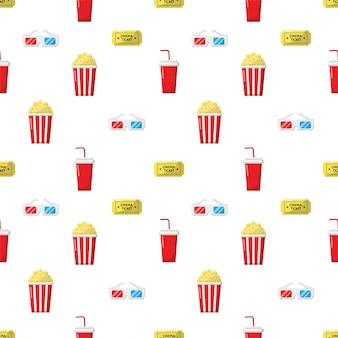 Padrão de ícones do cinema sem emenda. ícone de coleção de sinais e símbolos para sites com fundo branco.