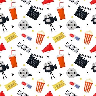Padrão de ícones do cinema sem emenda