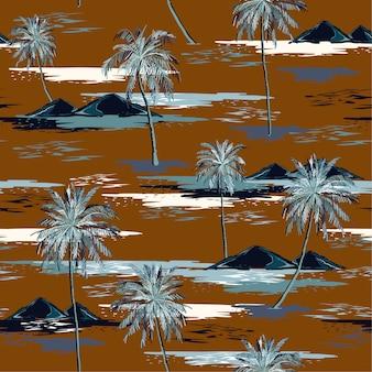 Padrão de ilha sem costura linda retrô paisagem com palmeiras coloridas