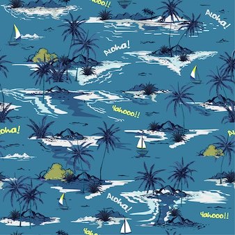 Padrão de ilha sem costura oceano azul