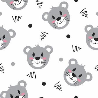 Padrão de ilustração de rato cinza fofo