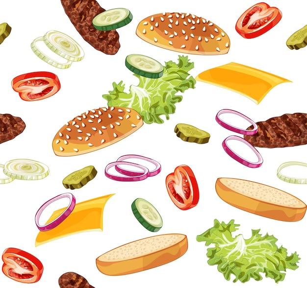 Padrão de ilustração realista de salto de hambúrguer, delicioso hambúrguer explodido com ingredientes alface, cebola, hambúrguer, tomate, queijo, pão isolado no fundo branco
