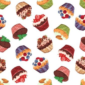 Padrão de ilustrações vetoriais no tema doces