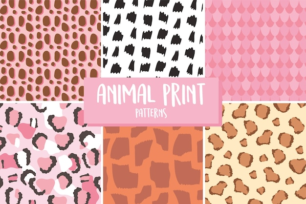 Padrão de impressão de pele de animal, textura diferente, ilustração vetorial de repetição perfeita