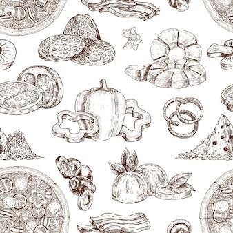 Padrão de ingredientes de pizza desenhada