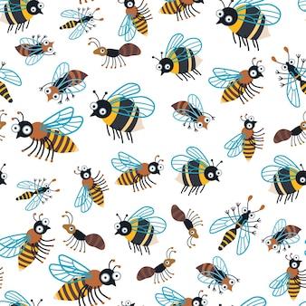 Padrão de insetos de desenho animado infantil brilhante. um vetor