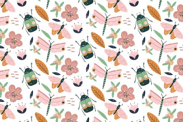 Padrão de insetos e flores