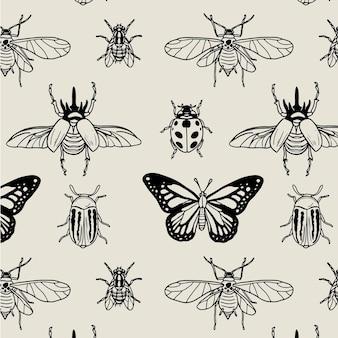 Padrão de insetos em preto e branco
