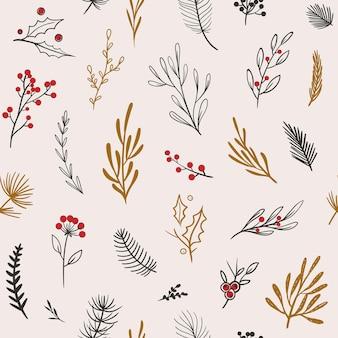 Padrão de inverno bonito padrão sem emenda de vetor com elementos florais teste padrão floral de natal