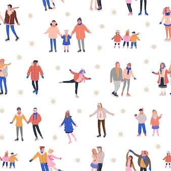 Padrão de inverno com pessoas de skate e flocos de neve dourados
