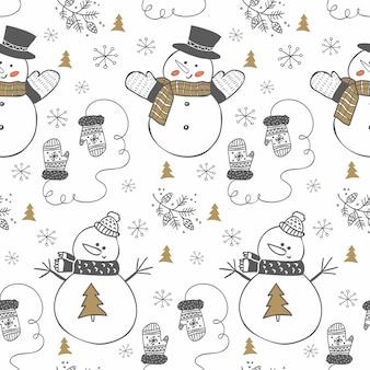 Padrão de inverno desenhada mão com snowmans