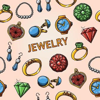 Padrão de joias sem costura desenhado à mão