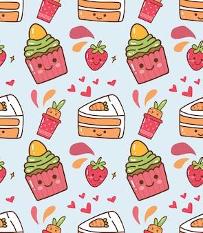 Padrão de kawaii de bolinho de morango