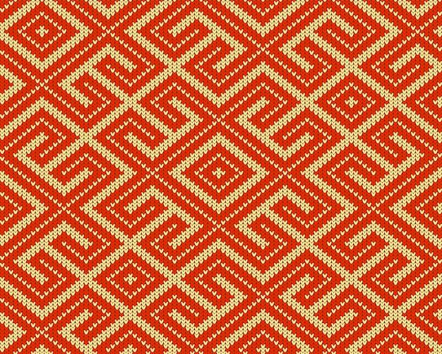 Padrão de lã nacional russo antigo de malha sem costura