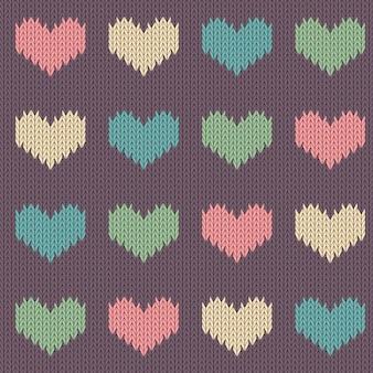 Padrão de lã tricotada com corações