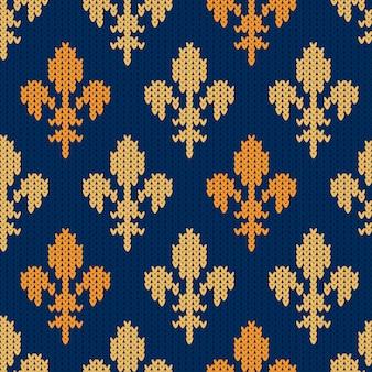 Padrão de lã tricotado com lírios reais de ouro heráldico