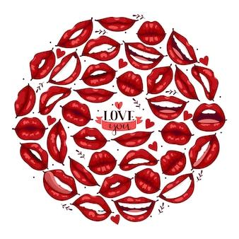 Padrão de lábio dos desenhos animados belos lábios vermelhos em beijo ou sorriso moda batom