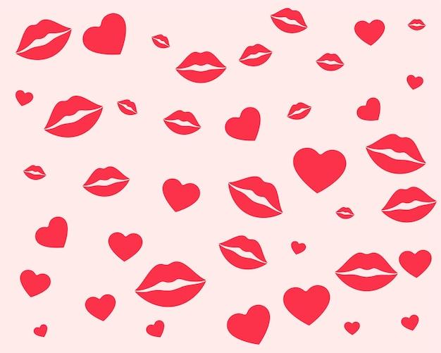 Padrão de lábios e corações para o dia dos namorados