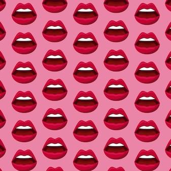 Padrão de lábios femininos de sensualidade