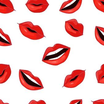 Padrão de lábios vermelhos.