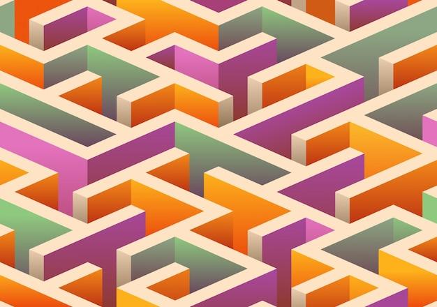 Padrão de labirinto isométrico sem costura.