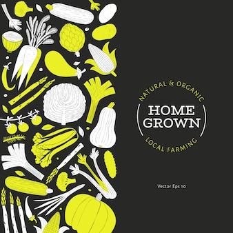 Padrão de legumes desenhada mão dos desenhos animados