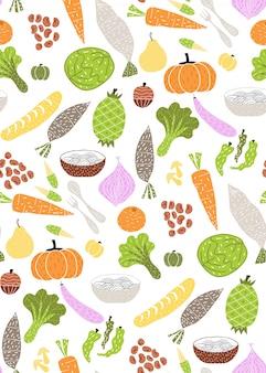 Padrão de legumes fofos