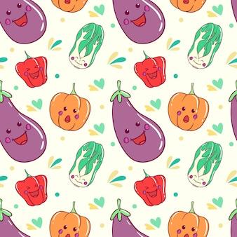 Padrão de legumes kawaii com arte doodle