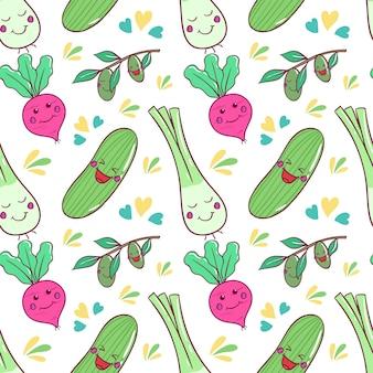 Padrão de legumes kawaii saudável com arte doodle