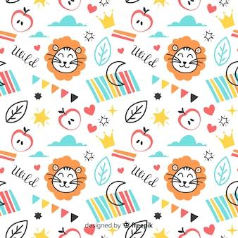 Padrão de leões e palavras coloridas doodle