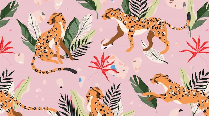 Padrão de leopardo sem emenda. elementos botânicos tropicais