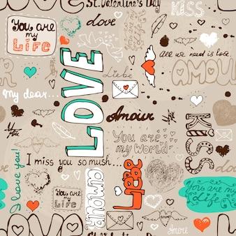 Padrão de letra de amor sem costura