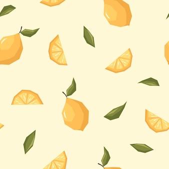 Padrão de limão em fundo bege em estilo de tendência plana desenhado à mão para têxteis e design
