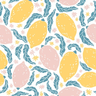 Padrão de limão. plano de fundo sem emenda com mão desenhada frutas cítricas e flores. ilustração dos desenhos animados em estilo escandinavo apartamento simples. ideal para tecidos, têxteis, embalagens, design de cozinha.
