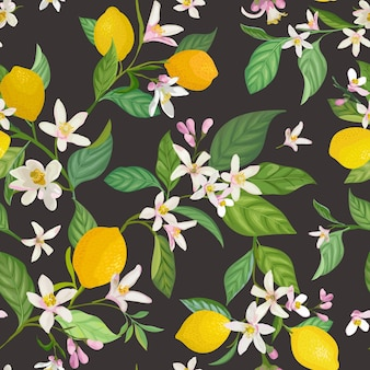 Padrão de limão sem costura com frutas tropicais, folhas, fundo de flores. mão desenhada ilustração vetorial em estilo aquarela para capa romântica de verão, papel de parede tropical, textura vintage