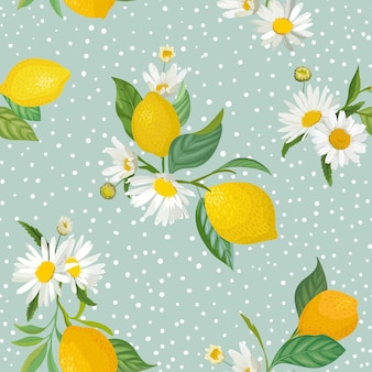 Padrão de limão sem costura com frutas tropicais, folhas, fundo de flores margarida. mão desenhada ilustração vetorial em estilo aquarela para capa romântica de verão, papel de parede tropical, textura vintage